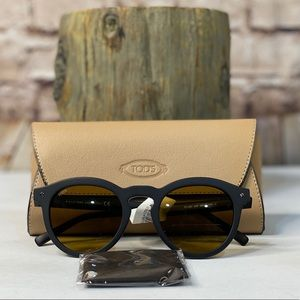 TOD'S ROUND SUNGLASSES TO 260 MATTE BLACK